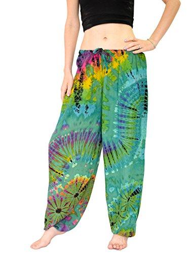 Orient Trail Women's Hippie Bohemian Yoga Pajama Tie Dye Hippie Pants US Size 4-12 One Size Eagle Green