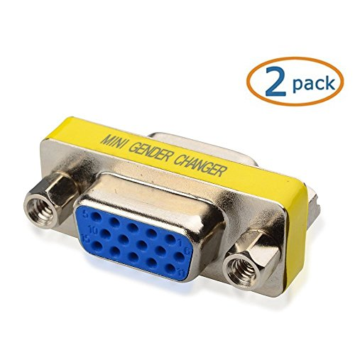 Aketek DB New 15 HD/DB/15 VGA/SVGA KVM Gender Changer Adapter Female to Female(F-F) - 2 Pack