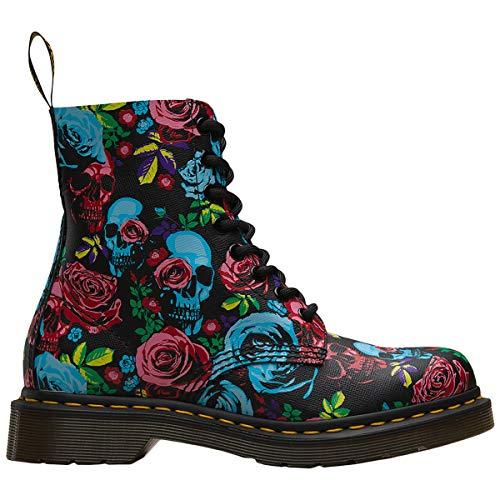 Dr. Martens Women's 1460 Pascal 8 Eye Boots, Rose Fantasy, Black, Floral, 7 Medium US (Floral Boots)