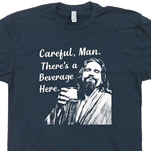 (XXL - Big Lebowski T Shirt Funny Movie Quote Tee Vintage 90s The Dude Abides Careful Man There's a Beverage Here)