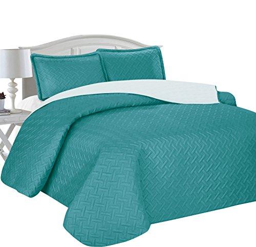 Home Sweet Home Victoria Design Reversible 3 PC Quilt Bedspread Sets (King, Teal/Aqua) (Teal King Bedspread)