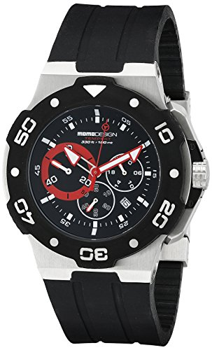 Momo Design Men's TEMPEST MD1004-01BKRD-RB Analog Display Swiss Quartz Black Watch