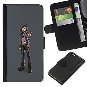Be-Star la tarjeta de Crédito Slots PU Funda de cuero Monedero caso cubierta de piel Para Apple Iphone 5C ( Macho Girl Futuristic Art Drawing Anime Mask )