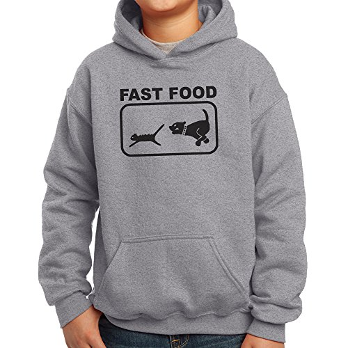 Price comparison product image Nutees Fast Food Dog Chasing Cat Funny Unisex Kids Hoodie - Sports Grey 14 / 15 Years