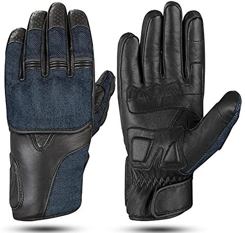 Hand Fellow Denim & Leder Motorradhandschuhe Touchscreen Motorradhandschuhe Racing ATV Riding Gloves (XL)
