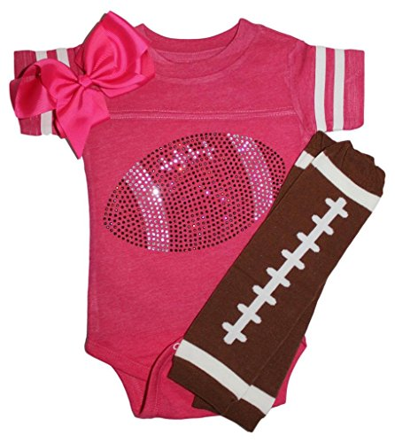 FanGarb Rhinestone Infant Toddler Baby Girls Football Pink Team Color Outfit ()