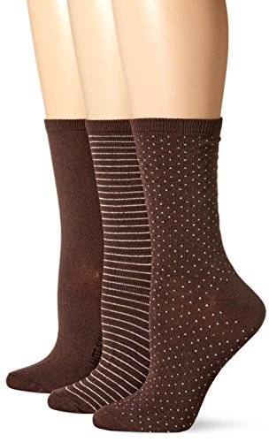 Brown Womens Socks (Hot Sox Women's 3 Pack Originals Classics Crew Socks, Dots and Stripes (Dark Brown), Shoe Size 4-10/Sock Size 9-11)