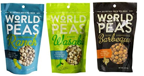 World Peas All Natural Green Pea Snack 3 Flavor Variety Bundle: (1) World Peas Nagano Hot Wasabi Flavored Green Pea Snack, (1) World Peas Santa Barbara Tangy Ranch Flavored Green Pea Snack, and (1) World Peas Smoky Texas Mesquite BBQ Flavored Green Pea Snack, 5.3 Oz. Ea. (3 Bags Total)