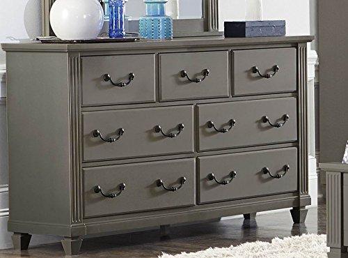 7 Drawer Dresser & Mirror in Casual Grey Rub-Through - (Dresser Only) (Casual Seven Drawer Dresser)