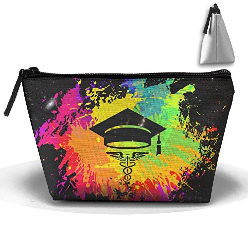 Rainbow Graffiti Graduation Cap EMT Large Travel Makeup Bag Pouch Tote Handbag Work Bag With - Sunglasses Emt