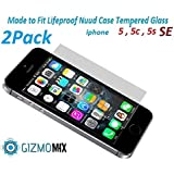 [2PACK] Lifeproof Nuud Tempered Glass Screen Protector For iPhone 5 5c 5s SE Case nüüd - Gizmomix Inc