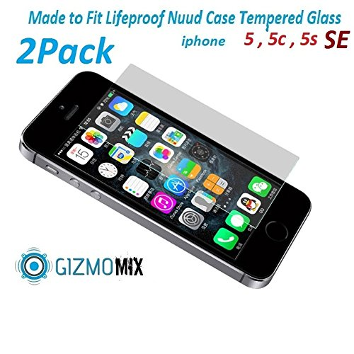 [2PACK] Lifeproof Nuud Tempered Glass (R50) ShatterProof Screen Protector For iPhone 5 5c 5s SE Case nüüd - Gizmomix Inc