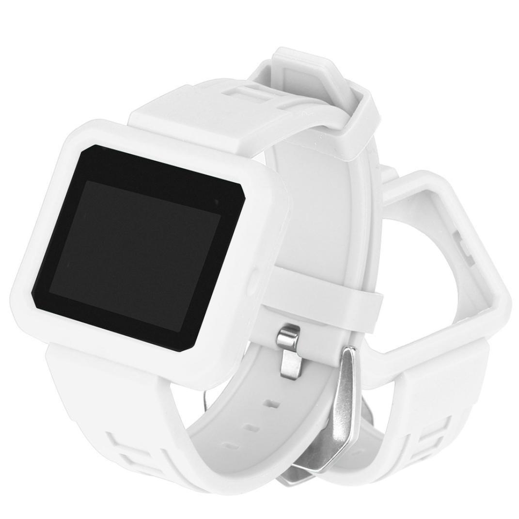 Binmer (TM) for Fitbit Blaze,シリコン保護ケース付きバックル腕時計バンドストラップベルト 26cm ホワイト ホワイト ホワイト B076HHVS8N