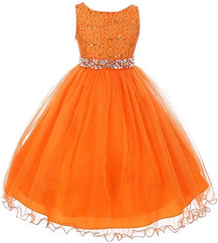 Big Girl Glitters Sequin Double Layer Flower Girl Dress Rhinestones Sash Orange 12 MBK 340 ()