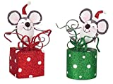 Pack of 6 Decorative Gray, White and Red Cheerful Wrapping Mice Table Top Decoration 7.5''