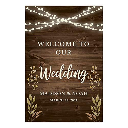 Andaz Press Personalized Extra Large Wedding Easel Board Party Sign, 12x18-inch, Rustic Wood with Hanging Ball Lights and Florals, Welcome to Our Wedding Bride Groom Name Date, 1-Pack, Custom -