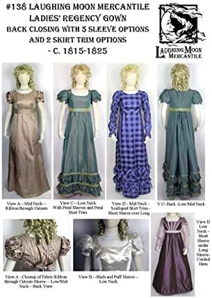 Amazon Com Ladies Regency Gown Dress Circa Early 1800 S Sewing Pattern 138 Pattern Only Laughing Moon Mercantile Lmm138 Arts Crafts Sewing