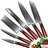 Yarenh Professional Kitchen Knife Set 6 Pcs,High Carbon Japanese Damascus Steel Blade,Pakka Wood Handle,Gift Box Packaging,Vegetable Knife Set HYZ-Series