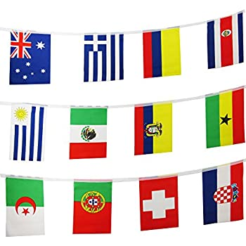 Tsmd 42 Feet 50 Countries Flags International String Flags Banners World Flags Pennants Banners For Grand Opening Olympics Bar Party Decorations Sports
