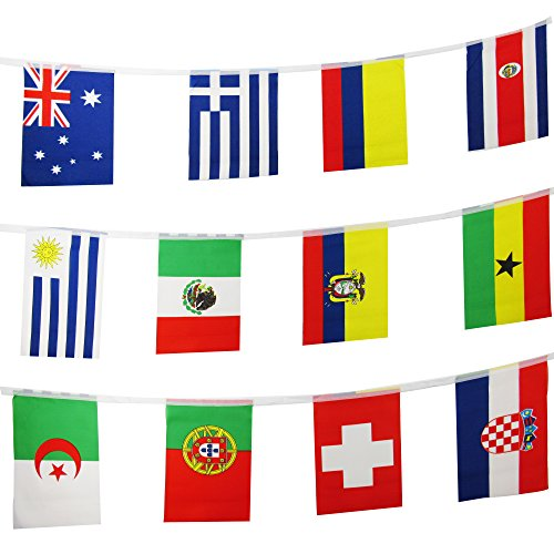 TSMD 82 Feet 100 Countries Flags International String Flags Banners,World Flags Pennants Banners For Grand Opening,Olympics,Bar,Party Decorations,Sports Clubs,Restaurants,Festival(8.2'' x 5.5'')
