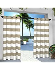 Exclusive Home Curtains Indoor/Outdoor Stripe Cabana Grommet Top Curtain Panel Pair, 54x96, Taupe, 2 Piece