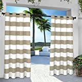 gazebo curtains amazon Exclusive Home Curtains Indoor/Outdoor Stripe Cabana Grommet Top Window Curtain Panel Pair, Taupe, 54x96