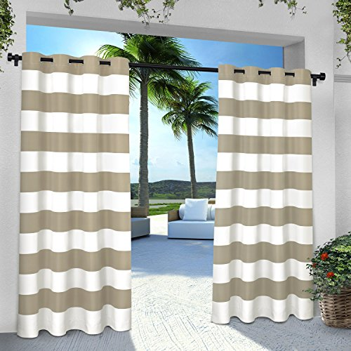 Drapes Stripes Silk Drapery (Exclusive Home Curtains Indoor/Outdoor Stripe Cabana Grommet Top Window Curtain Panel Pair, Taupe, 54x96)