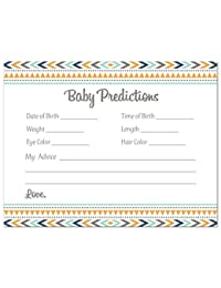 48 Boho Coral Tribal Patterns Baby Prediction Cards (Blue) BOBEBE Online Baby Store From New York to Miami and Los Angeles