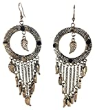 Boho Trunk – Bohemian Style Silver Dangles Feather Earings – Dream Catcher inspired
