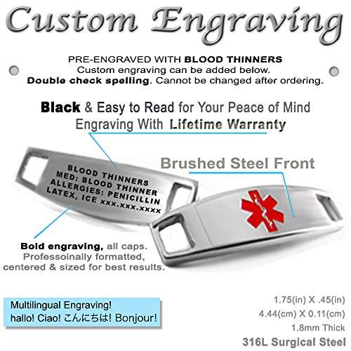 My Identity Doctor – Pre-Engraved Customizable Blood Thinners Medical Bracelet, Medic ID Card Incld O-Link Chain