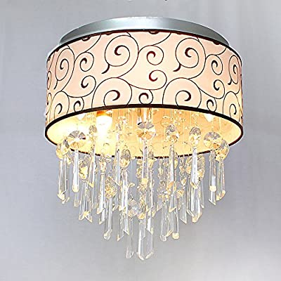 Chende Drum Flush Mount Ceiling Light Fixture with Clouds Pattern Fabric for Entryway, Living Room, Chrome Finish Crystal Chandelier with 5 lights
