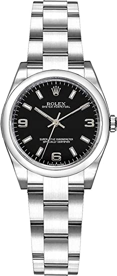Rolex Oyster Perpetual 26 176200 negro Dial reloj de mujer de acero