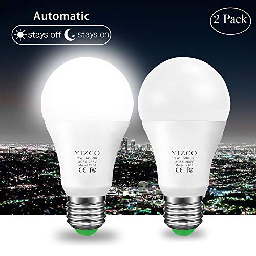 Dusk to Dawn Outdoor Automatic Led Sensing Light Bulb Led Lighting Bulbs with Sensors Socket Lamp Lights E26 7W Auto On/Off(Warm White, 2 Pack)