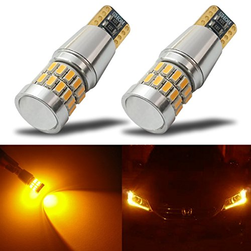 iBrightstar Newest 9-30V Extremely Bright Low Power 168 175 194 2825 W5W T10 Wedge LED Bulbs with Projector for Side Marker Light,Amber Yellow