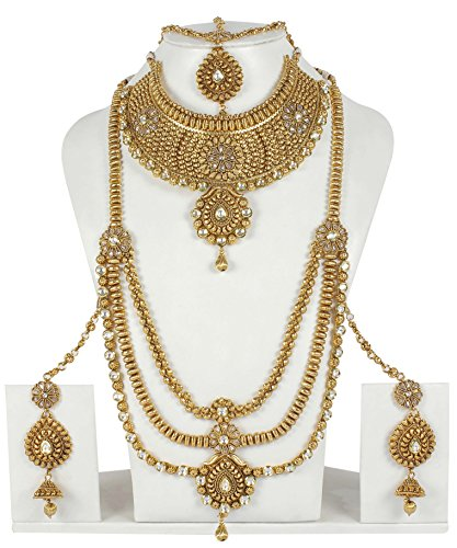 Ethnic Traditional Gold Tone Polki Indian Bridal Necklace Set Partywear (Kundan Bridal Jewelry)