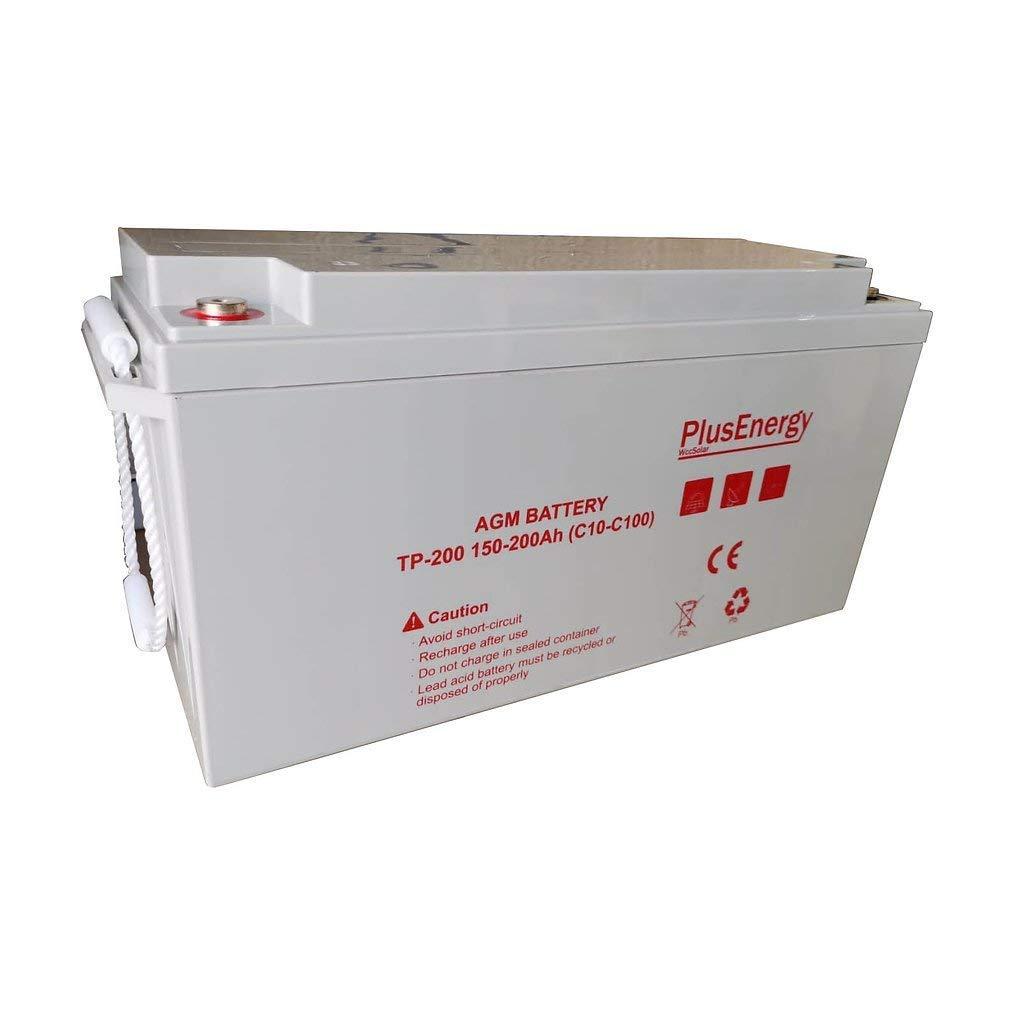 BaterÍa 12V GEL AGM 150Ah-200Ah (C10-C100) para instalaciones solar, autocaravana,telefonica y hogal (TPG200-GEL)