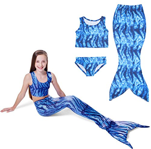 Lonchee Girl's 3pcs Mermaid Tail Swimmable Princess Bikini Set Costume Swimsuit for Swimming (Lollipop Pad)