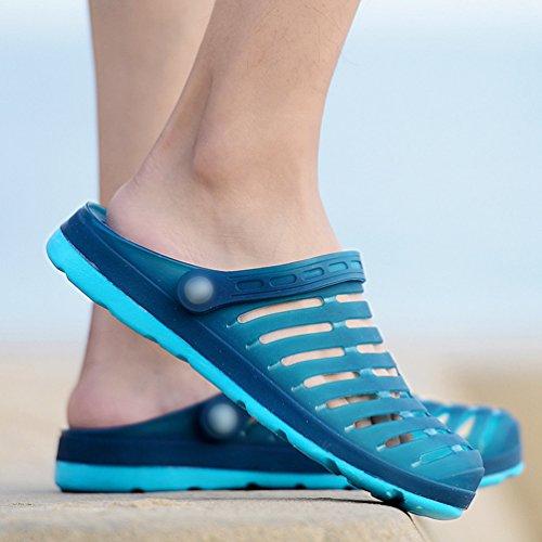 YiLianDa Summer Hole Water Shoes Hollow Slip on Beach Sandals Breathable Aqua shoes Blue pzC8ee