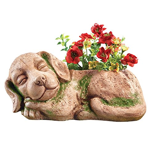 Moss Sleeping Dog Planter, Beige