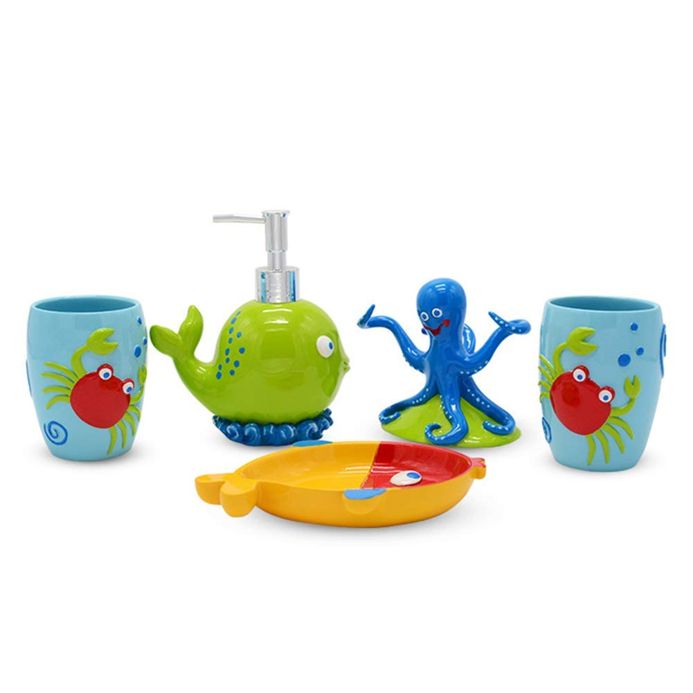 YOURNELO Kid's Cartoon Cute Animals Tropical Fish 5 Piece Bathroom Accessories Set Soap Dispenser Soap Dish Toothbrush Holder Tumbler Cups (Octopus) by YOURNELO (Image #1)