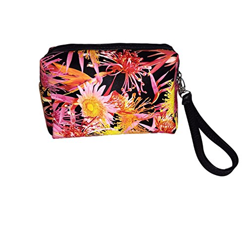Custom Floral Accessory Bag for Makeup, Pencils, and More Can Be Personalized or Monogrammed (Red and Yellow Floral Bouquet - ()