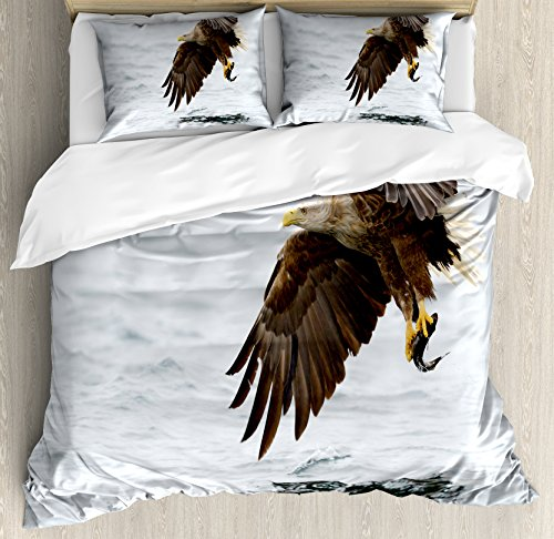 Ambesonne Eagle Duvet Cover Set King Size, Bird with Feather
