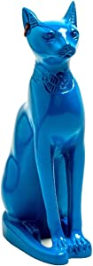Discoveries Egyptian Imports - Classical Blue Bastet Cat Statue with Earring - Made in Egypt