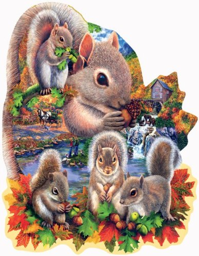 SunsOut Autumn Squirrels Shaped Jigsaw Puzzle (1000-Piece)