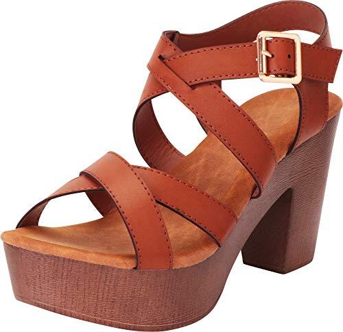 Cambridge Select Women's Retro 70s Crisscross Strappy Chunky Platform Block Heel Sandal,8 B(M) US,Tan PU