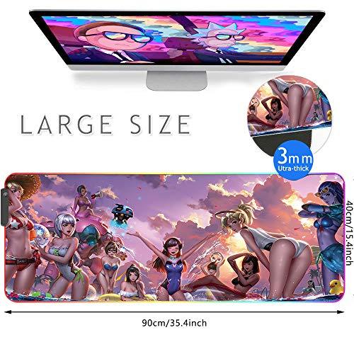 Beyme RGB Gaming Mouse Pad, Large Size (35.4x15.7IN) 10 Light Modes Computer Keyboard Mat & Non-Slip Rubber Base for Gamer, Esports Pros, Office Working (90x40 fgswiminggirl)
