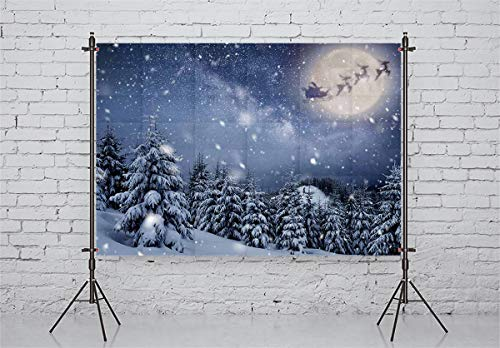 Allenjoy 7X5ft Christmas Backdrop Winter Snow Scene Pine Tree Santa Claus Background Snowflake Round Moon Photography Children Baby Photo Studio Props
