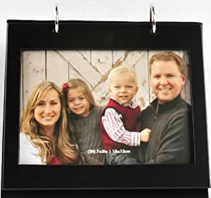 Pinnacle Metal Tabletop Photo Album with Frame Front, 5 by 7-Inch, Black