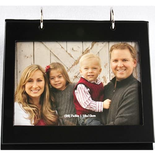 pinnacle metal tabletop photo album with frame front 5 by 7 inch black