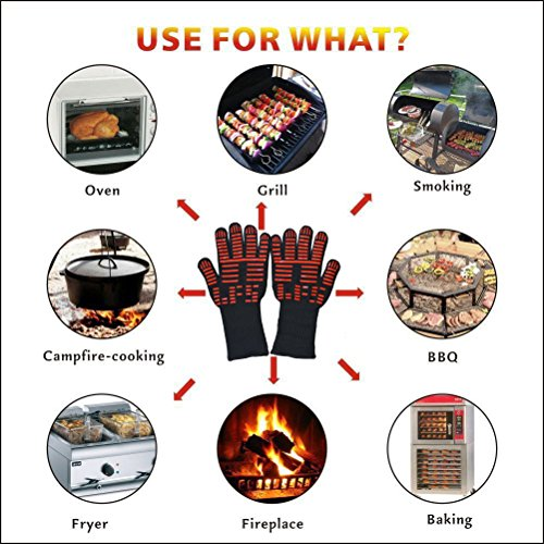 BBQ Gloves Grill Gloves Kitchen Oven Mitts 932°F Extreme Heat Resistant Gloves 14'' Long Cut Resistant and Forearm Protection baking & Grilling Gloves (1 Pair) by ITESTOO (Image #8)